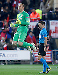 Atletico de Madrid's Jan Oblak (r) celebrates the victory in the Round of 16 of UEFA Champions League after the match.March 16,2015. (ALTERPHOTOS/Acero)