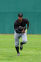 Quad Cities River Bandits outfielder Corey Julks (15) warms up in the outfield prior to a Midwest League game against the Beloit Snappers on May 20, 2018 at Pohlman Field in Beloit, Wisconsin. Beloit defeated Quad Cities 3-2. (Brad Krause/Four Seam Images)