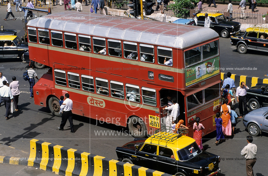 "S?dasien Asien Indien IND Mumbai Bombay , Strassenverkehr mit Taxi und Doppelstockbus - Verkehr xagndaz | .South Asia India Mumbai ,  traffic with cab and double decker bus .| [ copyright (c) Joerg Boethling / agenda , Veroeffentlichung nur gegen Honorar und Belegexemplar an / publication only with royalties and copy to:  agenda PG   Rothestr. 66   Germany D-22765 Hamburg   ph. ++49 40 391 907 14   e-mail: boethling@agenda-fototext.de   www.agenda-fototext.de   Bank: Hamburger Sparkasse  BLZ 200 505 50  Kto. 1281 120 178   IBAN: DE96 2005 0550 1281 1201 78   BIC: ""HASPDEHH"" ,  WEITERE MOTIVE ZU DIESEM THEMA SIND VORHANDEN!! MORE PICTURES ON THIS SUBJECT AVAILABLE!! INDIA PHOTO ARCHIVE: http://www.visualindia.net ] [#0,26,121#]"