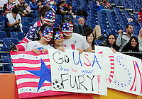 Fifa Women's World Cup Germany 2011 : Japan - USA  at Commerzbank Arena Frankfurt : supporters united states of America : go usa show 'em your fury.foto DAVID CATRY / Vrouwenteam.be