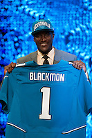 The fifth overall pick wide receiver Justin Blackmon (Oklahoma State) NFL during the first round of the 2012 NFL Draft at Radio City Music Hall in New York, NY, on April 26, 2012.