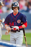 Bryce Harper #34 of the Hagerstown Suns walks back to the dugout after striking out against the Rome Braves at State Mutual Stadium on April 30, 2011 in Rome, Georgia.   Photo by Brian Westerholt / Four Seam Images