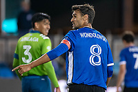 SAN JOSE, CA - MAY 12: Chris Wondolowski #8 of the San Jose Earthquakes during a game between San Jose Earthquakes and Seattle Sounders FC at PayPal Park on May 12, 2021 in San Jose, California.