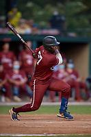 Macon Bacon Luther Woullard (27) bats during a Coastal Plain League game against the Savannah Bananas on July 15, 2020 at Grayson Stadium in Savannah, Georgia.  (Mike Janes/Four Seam Images)