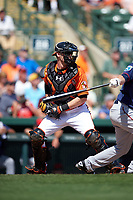 Baltimore Orioles catcher Matt Wieters (32) during a Spring Training game against the Minnesota Twins on March 7, 2016 at Ed Smith Stadium in Sarasota, Florida.  Minnesota defeated Baltimore 3-0.  (Mike Janes/Four Seam Images)