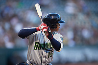 Cristian Pache (15) of the Gwinnett Stripers at bat against the Charlotte Knights at Truist Field on July 17, 2021 in Charlotte, North Carolina. (Brian Westerholt/Four Seam Images)