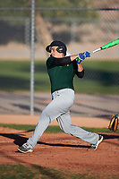 Raul Marquez (50), from Hammond, Indiana, while playing for the Athletics during the Under Armour Baseball Factory Recruiting Classic at Red Mountain Baseball Complex on December 29, 2017 in Mesa, Arizona. (Zachary Lucy/Four Seam Images)
