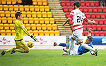 St Johnstone v Hamilton Accies...12.09.15  SPFL McDiarmid Park, Perth<br /> Steven MacLean puts the ball past Michael MvGovern to score his hat-trick<br /> Picture by Graeme Hart.<br /> Copyright Perthshire Picture Agency<br /> Tel: 01738 623350  Mobile: 07990 594431