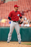 Columbus Clippers pitcher Shawn Armstrong (43) looks in for the sign during a game against the Buffalo Bisons on July 19, 2015 at Coca-Cola Field in Buffalo, New York.  Buffalo defeated Columbus 4-3 in twelve innings.  (Mike Janes/Four Seam Images)