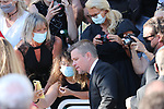 """Cannes Film Festival 2021 . 74th edition of the 'Festival International du Film de Cannes' under Covid-19 outbreak on 08/07/2021 in Cannes, France. US actor Matt Damon and French actress Camille Cottin arrive for the screening of the film """"Stillwater"""" from  director Tom McCarthy.  Matt Damon US Actor poses for a selfie with fans wearing a mask.<br /> © Pierre Teyssot / Maxppp"""