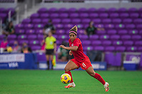 ORLANDO, FL - FEBRUARY 24: Desiree Scott #11 of the CANWNT dribbles the ball during a game between Brazil and Canada at Exploria Stadium on February 24, 2021 in Orlando, Florida.