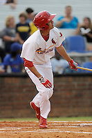 Center fielder Carlos Torres (21) of the Johnson City Cardinals in a game against the Elizabethton Twins on Sunday, July 27, 2014, at Howard Johnson Field at Cardinal Park in Johnson City, Tennessee. The game was suspended due to weather in the fifth inning. (Tom Priddy/Four Seam Images)