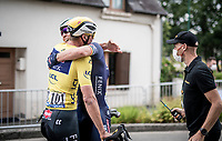 Tim Merlier (BEL/Alpecin-Fenix) wins the bunch sprint into Pontivy and the extreme joy is shared with teammate & yellow jersey / GC leader Mathieu Van der Poel (NED/Alpecin-Fenix) behind the finish line<br /> <br /> Stage 3 from Lorient to Pontivy (183km)<br /> 108th Tour de France 2021 (2.UWT)<br /> <br /> ©kramon