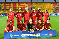 20200310  Calais , France : Canadian team with Stephanie Labbe (1)   Christine Sinclair (12)   Deanne Rose (6)   Shelina Zadorsky (4)   Julia Grosso (7)   Gabrielle Carle (14)   Jayde Riviere (23)   Janine Beckie (16)   Rebecca Quinn (5)   Sophie Schmidt (13)   Jessie Fleming (17) pictured during the female football game between the national teams of  Brasil and Canada on the third and last matchday of the Tournoi de France 2020 , a prestigious friendly womensoccer tournament in Northern France , on Tuesday 10 th March 2020 in Calais , France . PHOTO SPORTPIX.BE | DIRK VUYLSTEKE