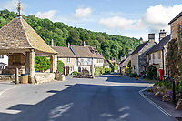 BNPS.co.uk (01202 558833)<br /> Pic: Strutt&Parker/BNPS<br /> <br /> Pictured: Castle Combe has been used regularly as a film location and the houses are mostly made with honey-coloured Cotswold stone.<br /> <br /> An 18th century cottage in 'the prettiest village in England' is on the market for £675,000.<br /> <br /> Number 2 School Lane is Grade II listed, built with beautiful Cotswold stone and filled with character features like exposed timber beams and original fireplaces.<br /> <br /> The attractive three-bedroom property is in the highly sought after Wiltshire village of Castle Combe.<br /> <br /> The quintessentially English village has been used regularly as a film location and the houses are mostly made with honey-coloured Cotswold stone.