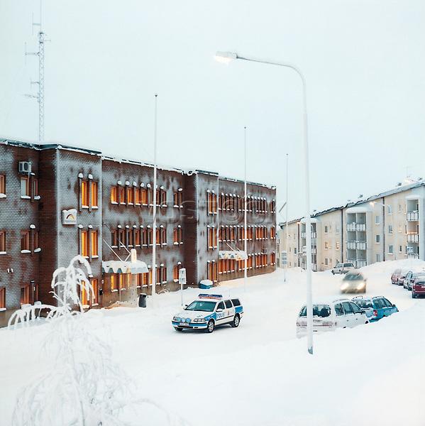 Schweden, Lappland, Kiruna, Polizeiwache, Polizei, Polizeiauto, Schnee, Winter, Europa, Nordeuropa, Skandianvien, MF; (Bildtechnik: sRGB, 52.94 MByte vorhanden)