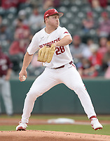 Arkansas starter Kole Ramage delivers to the plate Tuesday, April 6, 2021, during the first inning of play against UALR at Baum-Walker Stadium in Fayetteville. Visit nwaonline.com/210407Daily/ for today's photo gallery. <br /> (NWA Democrat-Gazette/Andy Shupe)