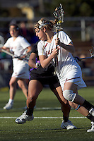 Boston College attacker Brooke Blue (4) on the attack. University at Albany defeated Boston College, 11-10, at Newton Campus Field, on March 30, 2011.