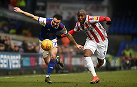 Ipswich Town's Gwion Edwards battles with Stoke City's Benik Afobe<br /> <br /> Photographer Hannah Fountain/CameraSport<br /> <br /> The EFL Sky Bet Championship - Ipswich Town v Stoke City - Saturday 16th February 2019 - Portman Road - Ipswich<br /> <br /> World Copyright © 2019 CameraSport. All rights reserved. 43 Linden Ave. Countesthorpe. Leicester. England. LE8 5PG - Tel: +44 (0) 116 277 4147 - admin@camerasport.com - www.camerasport.com