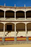 Empty seating at Plaza de Toros de Ronda, a bullring arena in Ronda, Andalusia, Spain.
