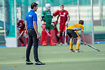 Mannheim, Germany, October 25: During the 1. Bundesliga men fieldhockey match between Mannheimer HC (red) and Harvestehuder THC (yellow) on October 25, 2020 at Am Neckarkanal in Mannheim, Germany. Final score 6-4 (HT 2-3). (Copyright Dirk Markgraf / www.265-images.com) ***