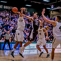 18 December 2018: St. Bonaventure University Bonnies Guard Jalen Poyser, a Junior from Malton, Ontario, in overtime action against the University of Vermont Catamounts at Patrick Gymnasium in Burlington, Vermont. The Catamounts defeated the Bonnies 83-76 in a double-overtime NCAA DI game. Mandatory Credit: Ed Wolfstein Photo *** RAW (NEF) Image File Available ***