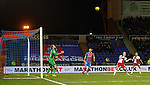 Barrie McKay misses with a free header on goal