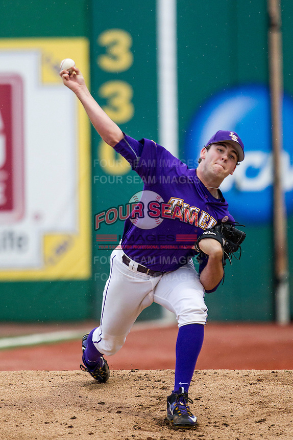 LSU Tigers pitcher Alex Lange (35) warms up before the Southeastern Conference baseball game against the Texas A&M Aggies on April 24, 2015 at Alex Box Stadium in Baton Rouge, Louisiana. LSU defeated Texas A&M 9-6. (Andrew Woolley/Four Seam Images)