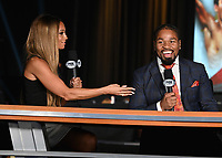LAS VEGAS, NV - AUG 18: Kate Abdo and Shawn Porter at a press conference at the MGM Grand Garden Arena on August 18, 2021 for their upcoming Fox Sports PBC pay-per-view fight in Las Vegas, Nevada. Pacquiao vs Ugas pay-per-view will be on August 21 at T-Mobile Arena in Las Vegas. (Photo by Scott Kirkland/Fox Sports/PictureGroup)