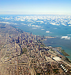 Aerial view of Chicago, Illinois and Lake Michigan.
