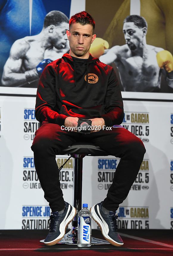 DALLAS, TX - DECEMBER 3: Francisco Santana attends the undercard press conference for the Errol Spence Jr. vs Danny Garcia December 5, 2020 Fox Sports PBC Pay-Per-View title fight at AT&T Stadium in Arlington, Texas. (Photo by Frank Micelotta/Fox Sports)