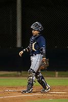 AZL Padres 2 catcher Juan Fernandez (27) on defense against the AZL Diamondbacks on August 29, 2017 at Salt River Fields at Talking Stick in Scottsdale, Arizona. AZL Diamondbacks defeated the AZL Padres 2 4-3. (Zachary Lucy/Four Seam Images)