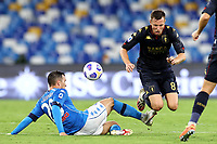 Piotr Zielinski of SSC Napoli and Lukas Lerager of Genoa CFC compete for the ball during the Serie A football match between SSC Napoli and Genoa CFC at San Paolo stadium in Napoli (Italy), September 27th, 2020. Photo Cesare Purini / Insidefoto