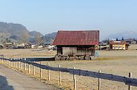 Heustadel auf Weiden südlich von Oberstdorf im Allgäu, Bayern, Deutschland<br /> hay barn on pastures south of Oberstdorf, Allgäu, Bavaria, Germany