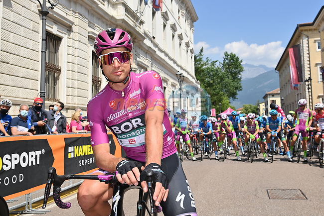 Maglia Ciclamino Peter Sagan (SVK) Bora Hansgrohe lines up for the start of Stage 18 of the 2021 Giro d'Italia, running 231km from Rovereto to Stradella, Italy. 27th May 2021.  <br /> Picture: LaPresse/Gian Mattia D'Alberto | Cyclefile<br /> <br /> All photos usage must carry mandatory copyright credit (© Cyclefile | LaPresse/Gian Mattia D'Alberto)