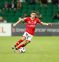 18th April 2021; HBF Park, Perth, Western Australia, Australia; A League Football, Perth Glory versus Wellington Phoenix; Louis Fenton of Wellington Phoenix breaks with the ball down the wing