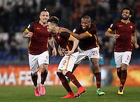 Calcio, Serie A: Roma vs Frosinone. Roma, stadio Olimpico, 30 gennaio 2016.<br /> Roma's Stephan El Shaarawy, second from left, celebrates with teammates Radja Nainggolan, left, Seydou Keita, second from right, Mohamed Salah, after scoring during the Italian Serie A football match between Roma and Frosinone at Rome's Olympic stadium, 30 January 2016.<br /> UPDATE IMAGES PRESS/Isabella Bonotto