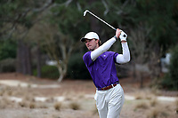 PINEHURST, NC - MARCH 02: Keller Harper of Augusta University tees off on the third hole at Pinehurst No. 2 on March 02, 2021 in Pinehurst, North Carolina.