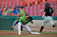 Kane County Cougars first baseman Zachery Almond (9) stretches for a throw as Michael Siani (6) runs through the bag during a Midwest League game against the Dayton Dragons on July 20, 2019 at Northwestern Medicine Field in Geneva, Illinois.  Dayton defeated Kane County 1-0.  (Mike Janes/Four Seam Images)