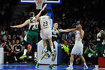 Real Madrid´s Sergio Llull and Felipe Reyes and Zalgiris Kaunas´s Robertas Javtokas and Arturas Milaknis during 2014-15 Euroleague Basketball match between Real Madrid and Zalgiris Kaunas at Palacio de los Deportes stadium in Madrid, Spain. April 10, 2015. (ALTERPHOTOS/Luis Fernandez)