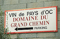 Vin de Pays d'Oc Domaine du Grand Chemin parking. Domaine du Grand Chemin, Vin de Pays d'Oc. in Savignargues. Languedoc. France. Europe.