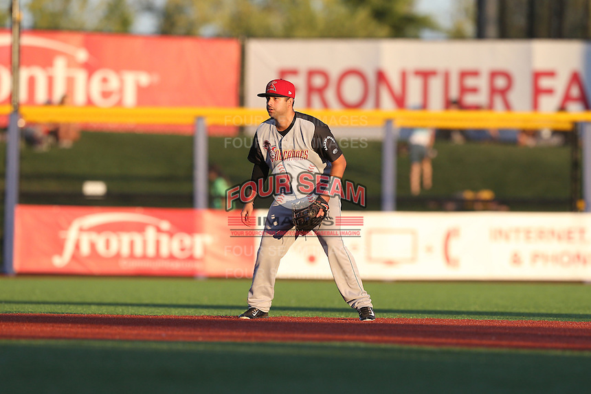 C.J. Hinojosa (1) of the Salem-Keizer Volcanoes in the field at shortstop during a game against the Hillsboro Hops at Ron Tonkin Field on July 27, 2015 in Hillsboro, Oregon. Hillsboro defeated Salem-Keizer, 9-2. (Larry Goren/Four Seam Images)