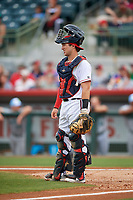 Florida Fire Frogs catcher Brett Cumberland (28) during a game against the Daytona Tortugas on April 7, 2018 at Osceola County Stadium in Kissimmee, Florida.  Daytona defeated Florida 4-3.  (Mike Janes/Four Seam Images)