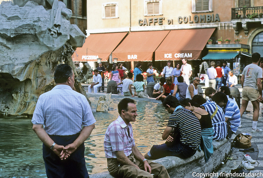Italy: Rome--People relaxing at Bernini's Fountain, Piazza Navona. Photo '83.
