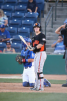 Christian Arroyo (22) of the San Jose Giants bats during a game against the Rancho Cucamonga Quakes at LoanMart Field on August 30, 2015 in Rancho Cucamonga, California. Rancho Cucamonga defeated San Jose, 8-3. (Larry Goren/Four Seam Images)