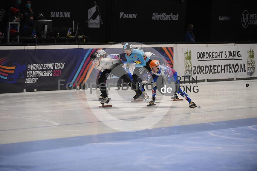 SPEEDSKATING: DORDRECHT: 06-03-2021, ISU World Short Track Speedskating Championships, SF 500m Men, Shaoang Liu (HUN), Semen Elistratov (RSU), Stijn Desmet (BEL), ©photo Martin de Jong
