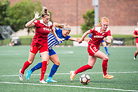Boston, MA - Saturday July 01, 2017: Kassey Kallman, Rosie White and Tori Huster during a regular season National Women's Soccer League (NWSL) match between the Boston Breakers and the Washington Spirit at Jordan Field.