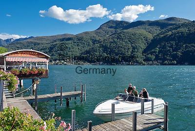 Switzerland, Ticino, Morcote at Lago Lugano: boat landing stage   Schweiz, Tessin, Morcote am Luganer See: Bootsanleger auch fuer kleine Boote