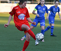 Kenza Vrithof (9) of Woluwe in action during a female soccer game between  Racing Genk Ladies and White Star Woluwe on the 8 th matchday of play off 2 in the 2020 - 2021 season of Belgian Scooore Womens Super League , tuesday 18 th of May 2021  in Genk , Belgium . PHOTO SPORTPIX.BE | SPP | JILL DELSAUX
