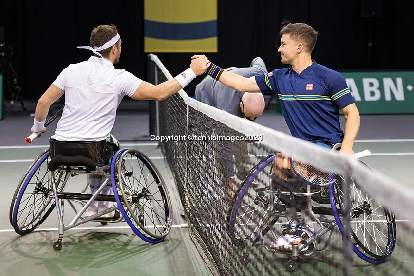 Rotterdam, The Netherlands,7 march  2021, ABNAMRO World Tennis Tournament, Ahoy,  <br /> Wheelchair final: Gordon Reid (GBR) Alfie Hewett (GBR).<br /> Photo: www.tennisimages.com/